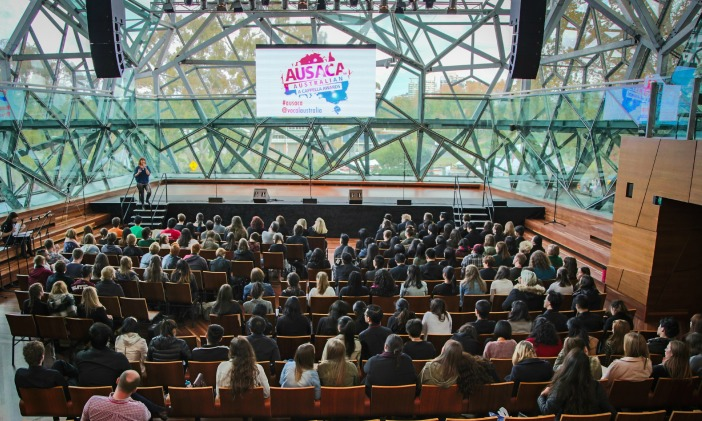 Crowd at AusAca at Deakin Edge at Federation Square, Melbourne. Pre performance movement masterclass with Zerafina.